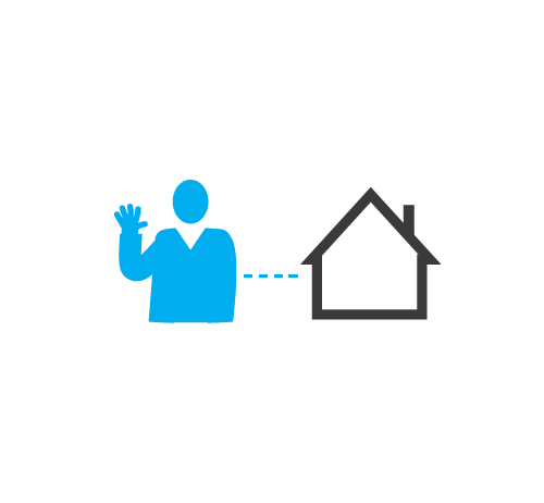 A man's silhouette waving with a dotted line connected to a house